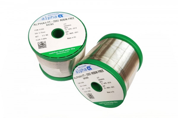 Lötdraht SAC305 FT-2002 ROSIN FREE/122 (0,75mm/500g)